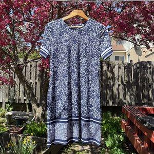 Michael M Kors blue floral shift dress size L